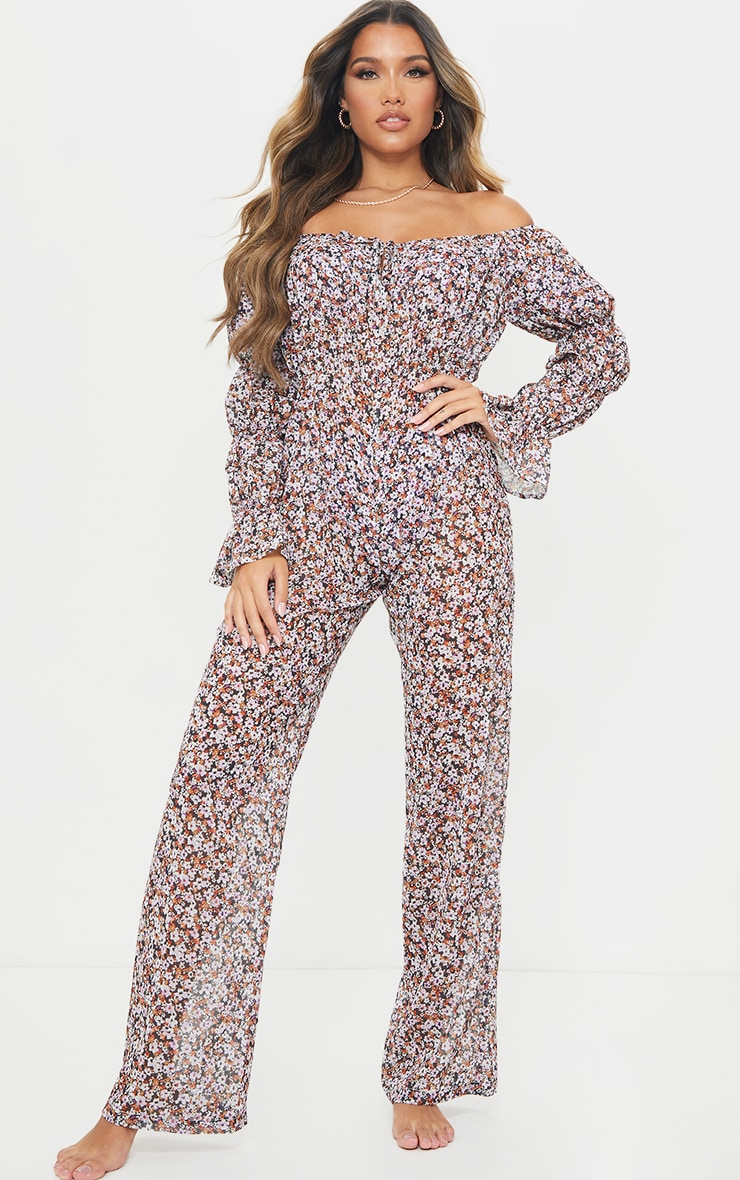 Multi Ditsy Floral Flare Sleeve Wide Leg Beach Jumpsuit 1