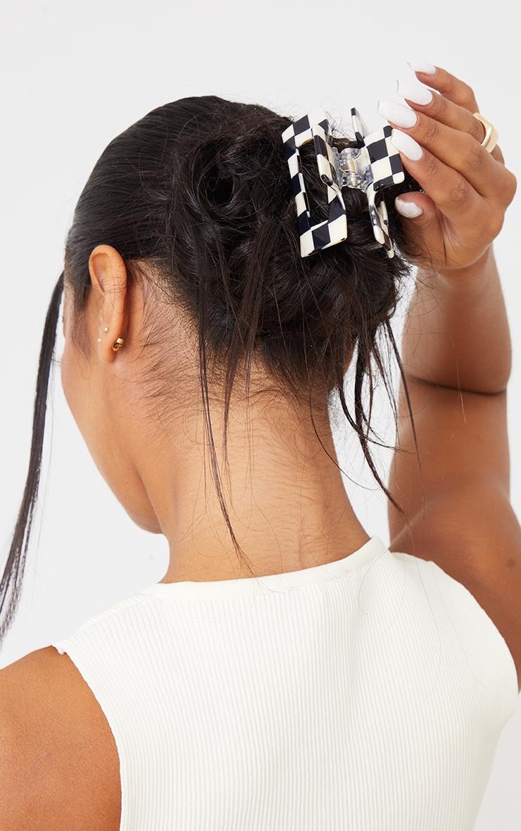Black Gingham Cut Out Square Hair Clip 1