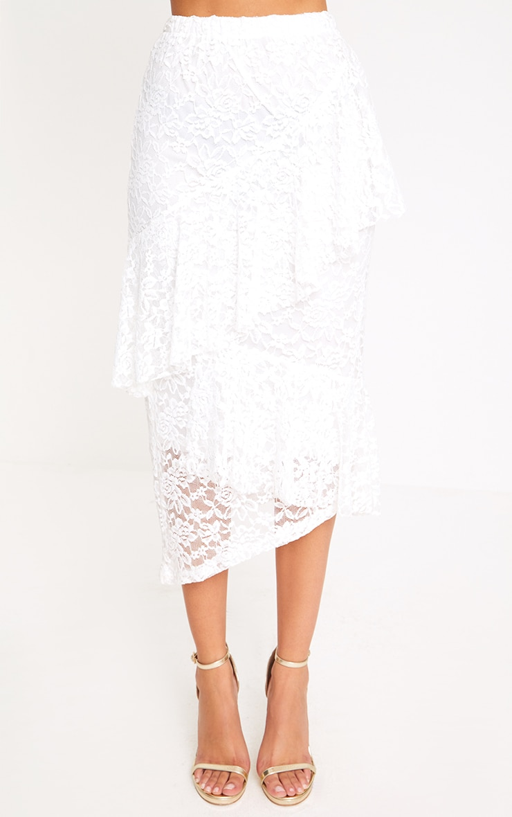 White Asymmetric Long Line Lace Midi Skirt 2