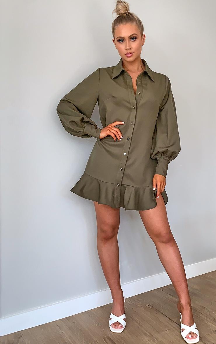 Khaki Frill Hem Shirt Dress 3
