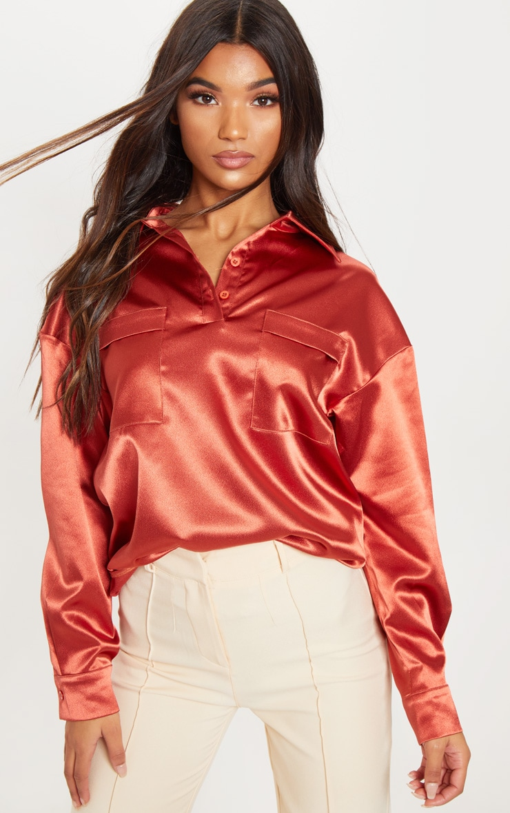 Burnt Orange Satin Pocket Front Oversized Shirt