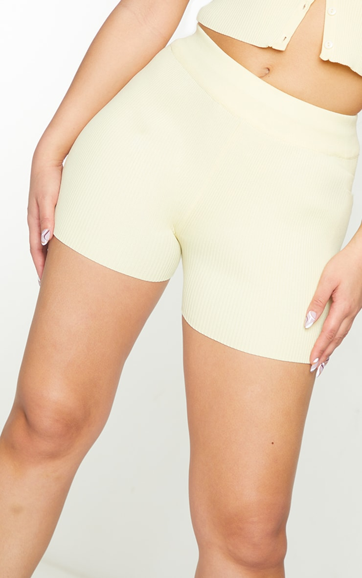 Lemon Ribbed Knitted High Waist Hotpant Shorts 5