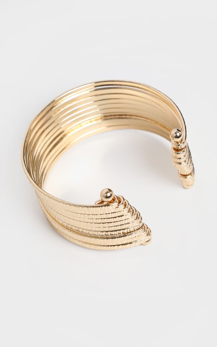 Gold Chunky Multi Ring Bangle 3
