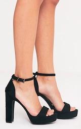 08b42bcf46b Taya Black Faux Suede Platform Sandals image 3