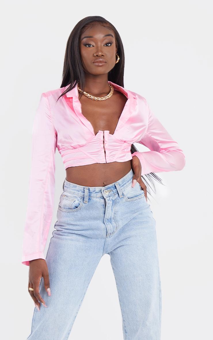 Hot Pink Satin Corset Waist Plunge Crop Shirt 3