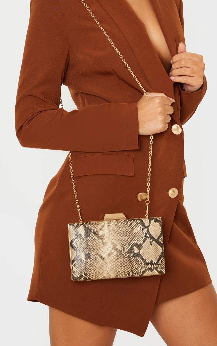 Brown Snake PU Box Clutch Bag 1