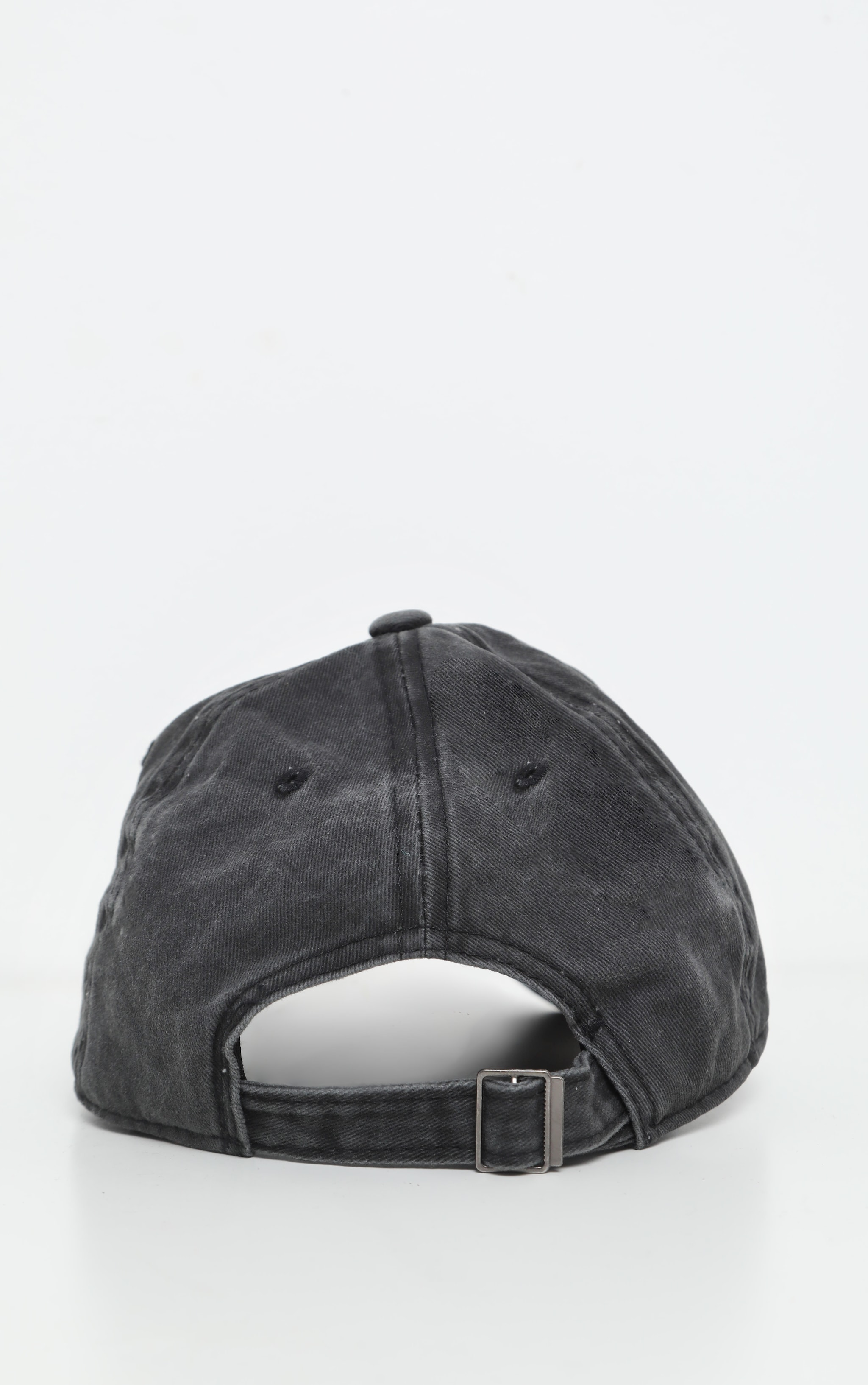 Black Distressed Fabric Cap   4