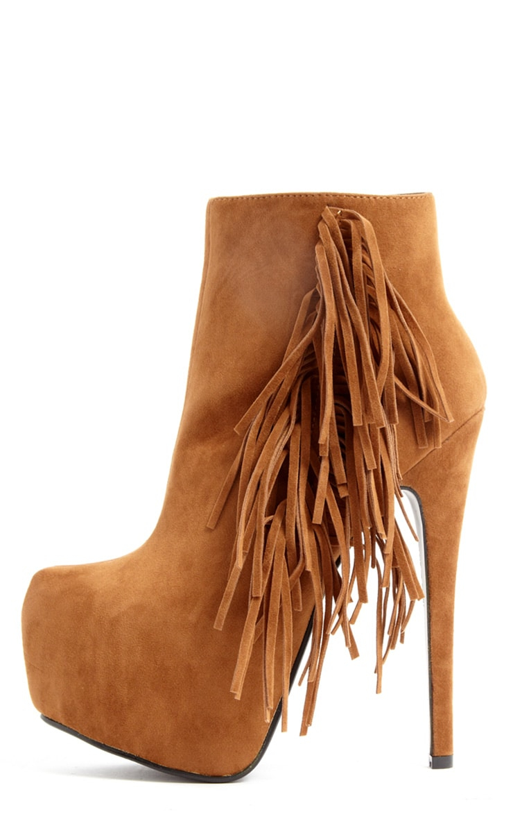 new list watch sells Ally Tan Fringe HIgh Heel Ankle Boots