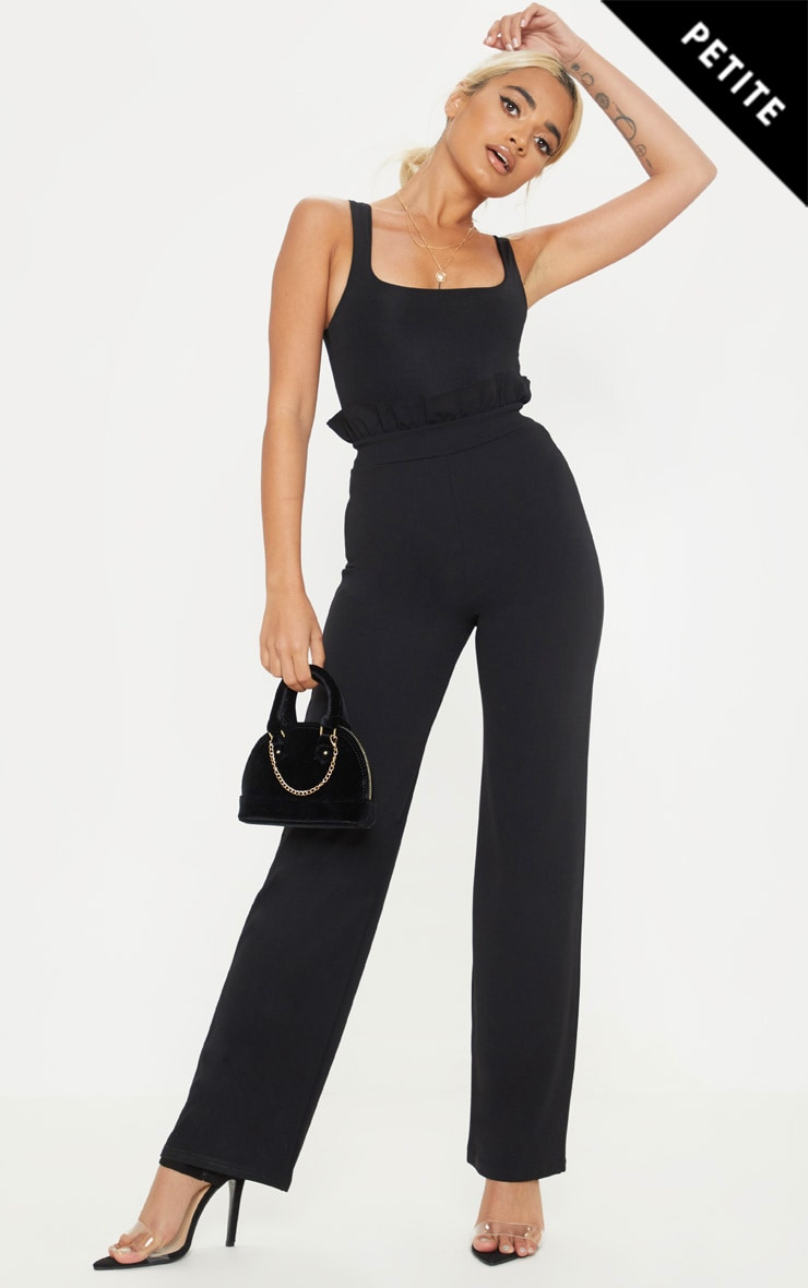 Petite Black Frill High Waist Trousers 1