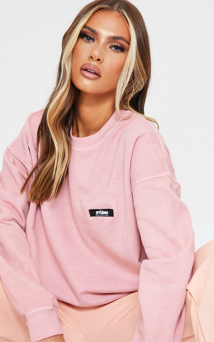 PRETTYLITTLETHING Dusty Pink Studio Washed Sweatshirt 4