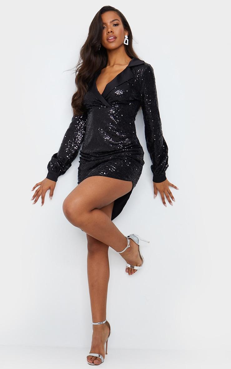 Black Sequin Satin Lapel Midi Dress 3