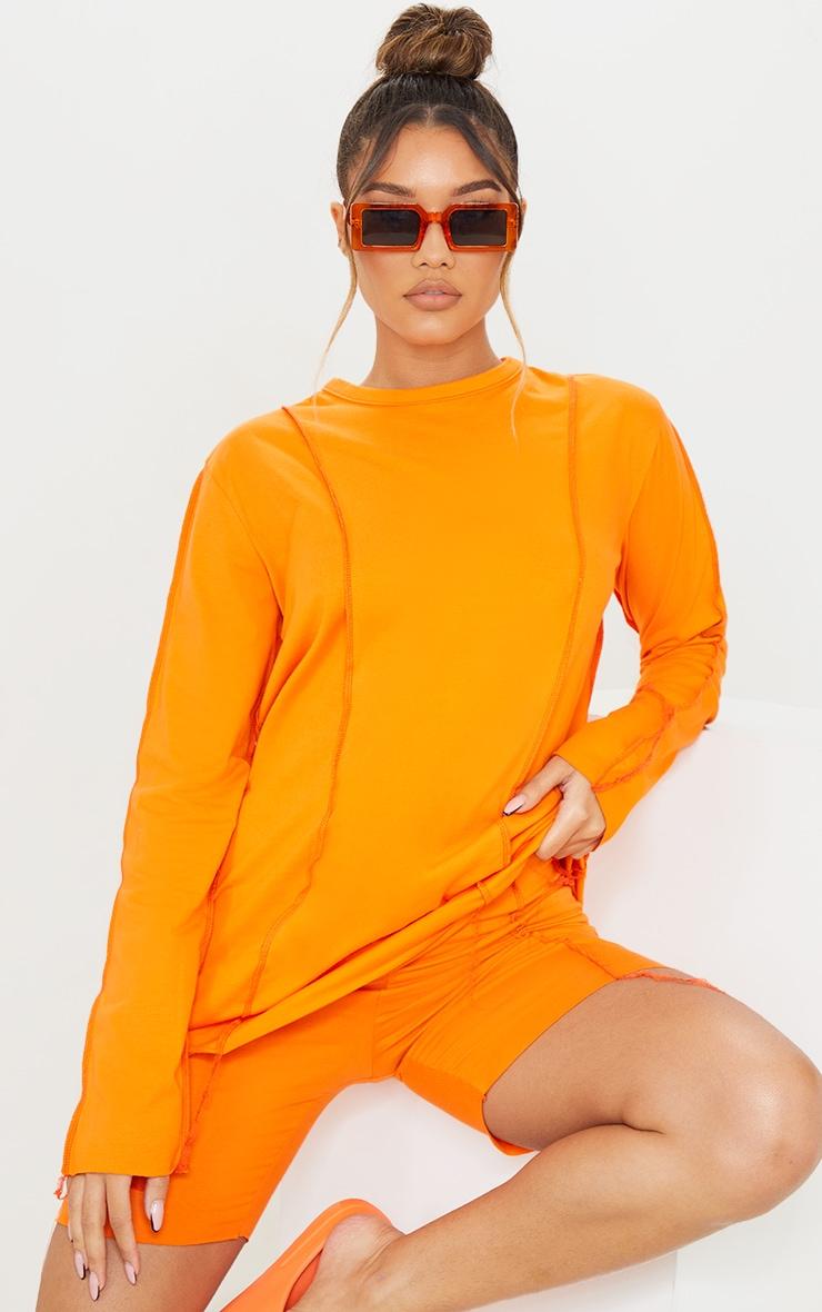 Orange Cotton Overlock Stitch Detail Long Sleeve Top
