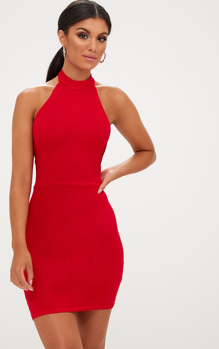 Red High Neck Tie Back Bodycon Dress 1