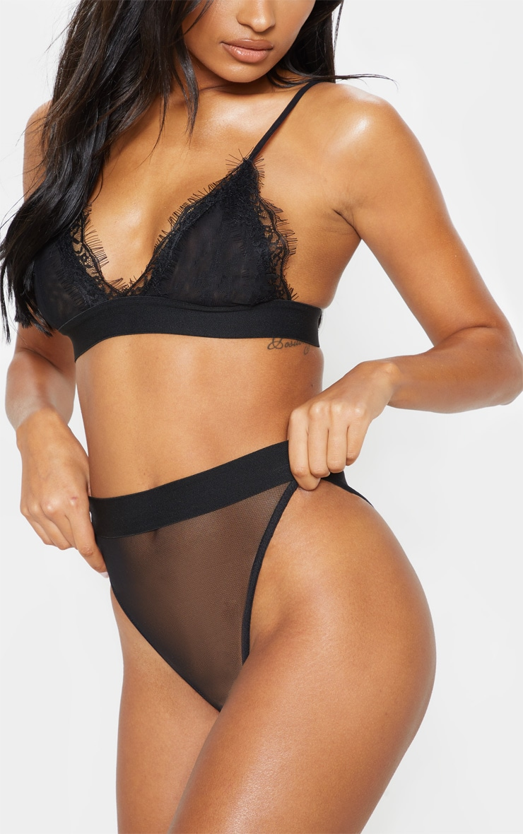 Black Mesh Brazilian Panties