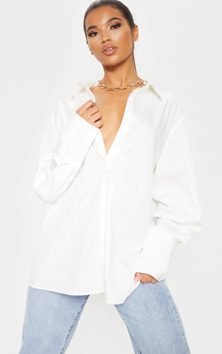 White Oversized Cuff Poplin Shirt 1
