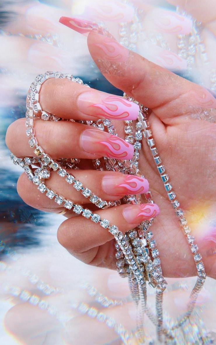SHRINE X Alice Mc Pink Flames Stick On Nails 3
