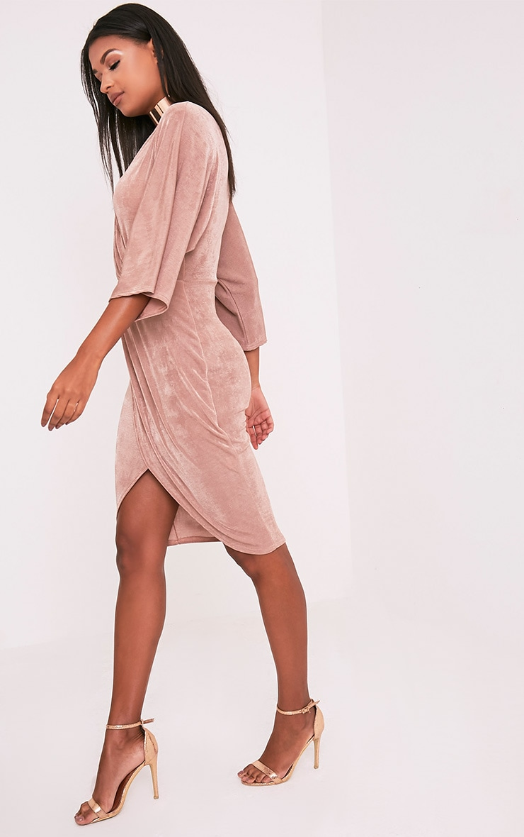 Meliana Dusty Pink Slinky Kimono Sleeve Midi Dress 4