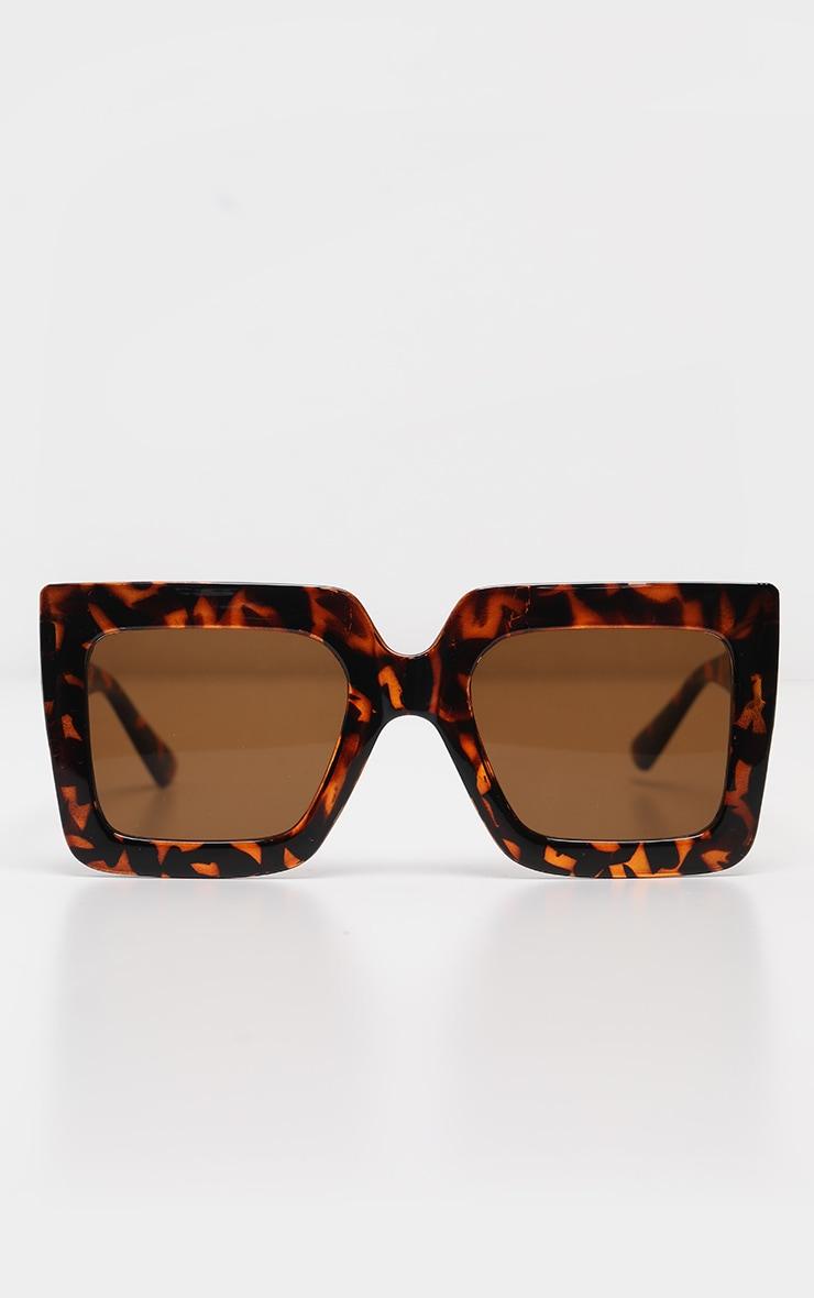 Tortoise Shell Oversize Square Sunglasses 2
