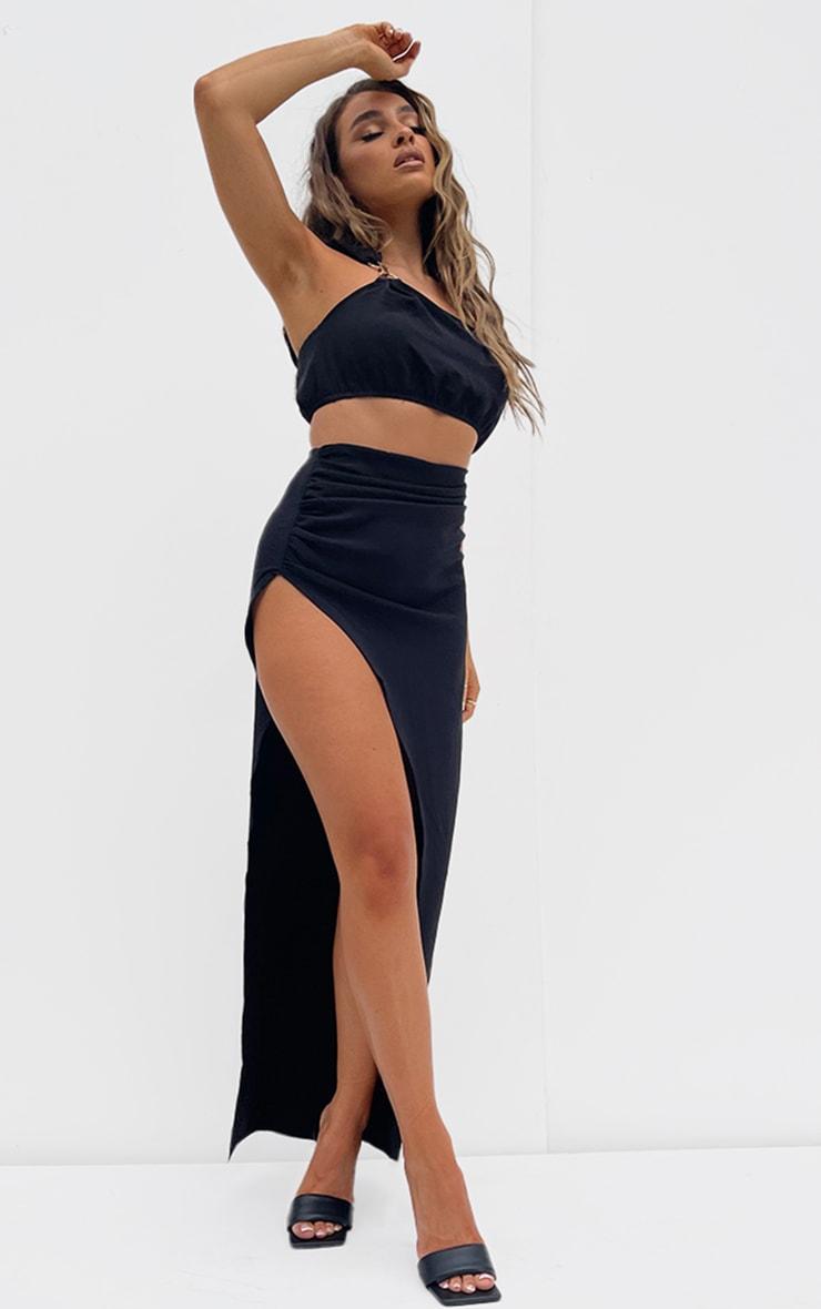 Black Woven Split Leg Maxi Skirt 4