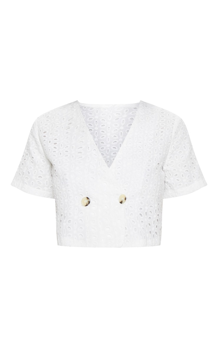White Broderie Anglaise Button Front Short Sleeve Top 3