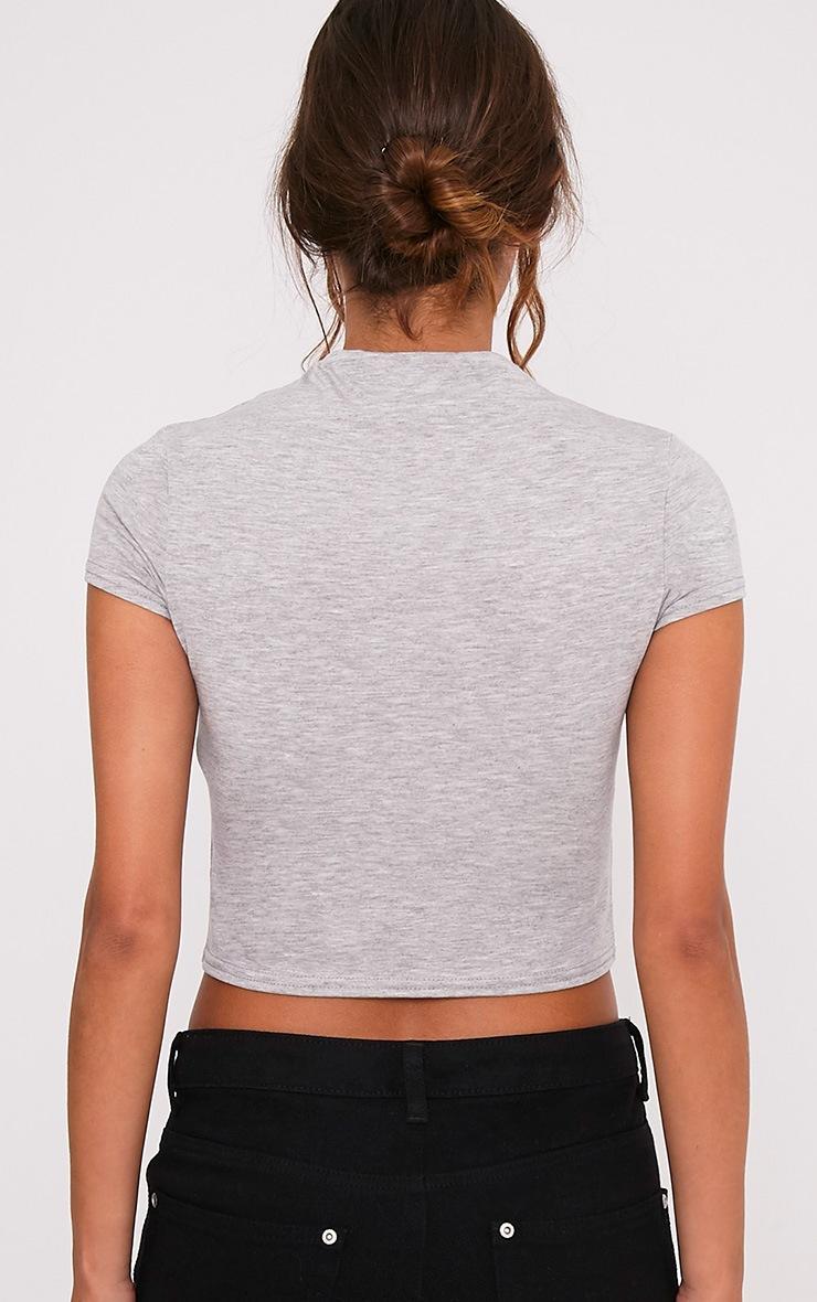 Basic t-shirt court gris à col montant 2