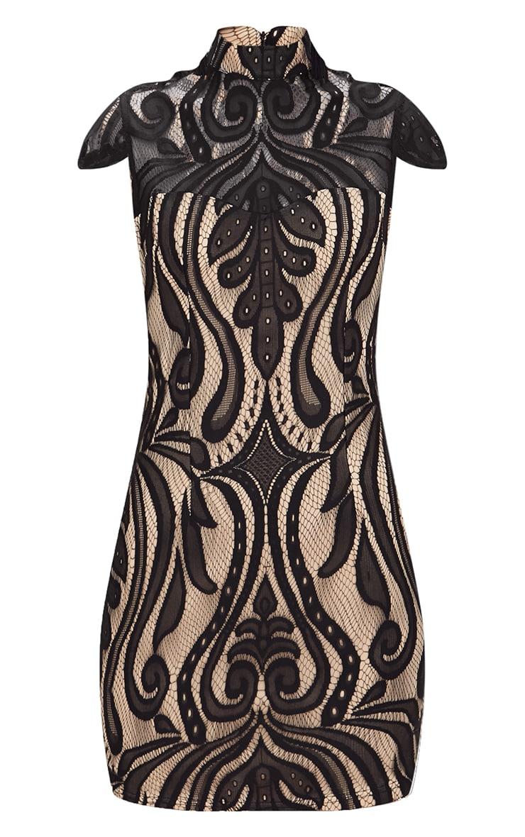 Black Lace Cap Sleeve Bodycon Dress 3