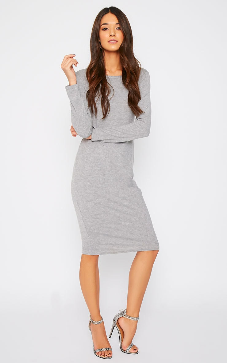 Amity Grey Long Sleeve Jersey Dress  4