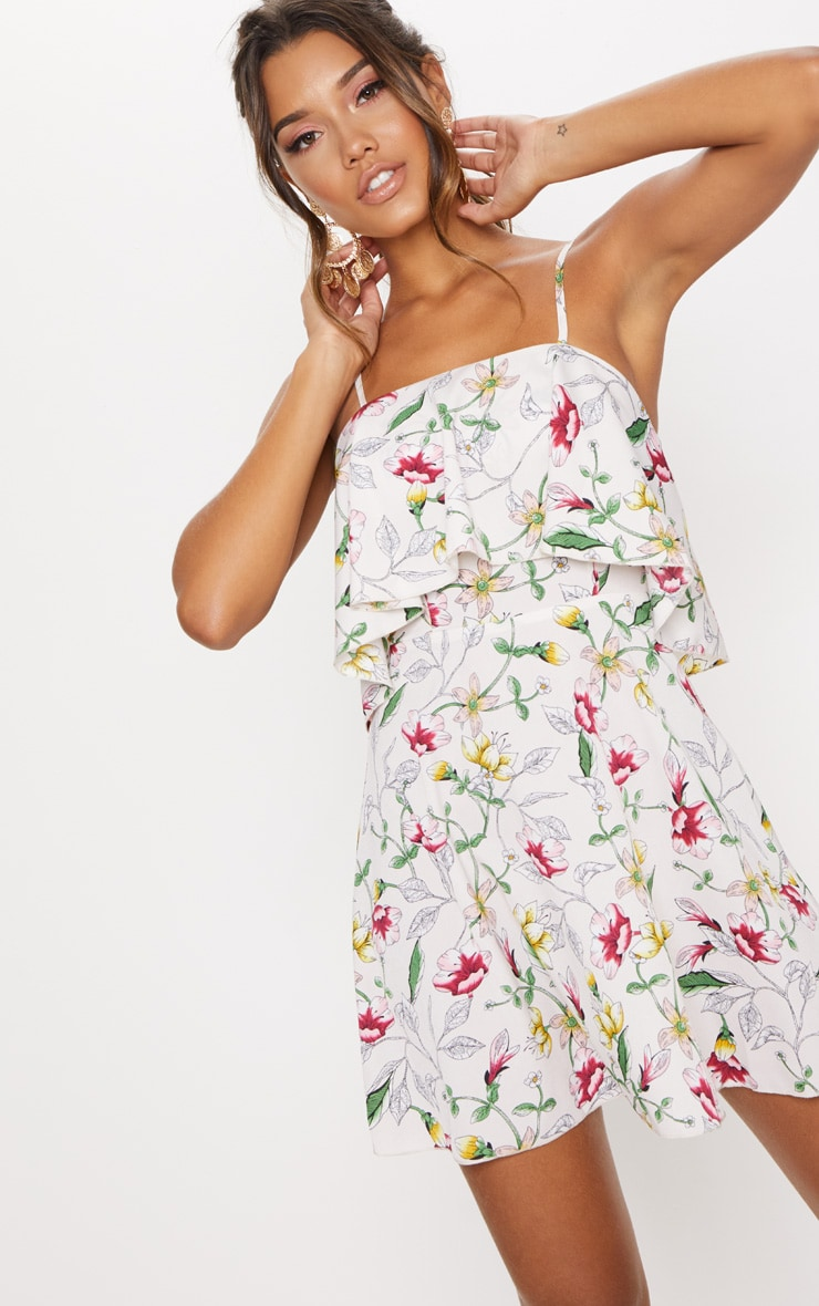 Cream Floral Print Strappy Layered Skater Dress 4