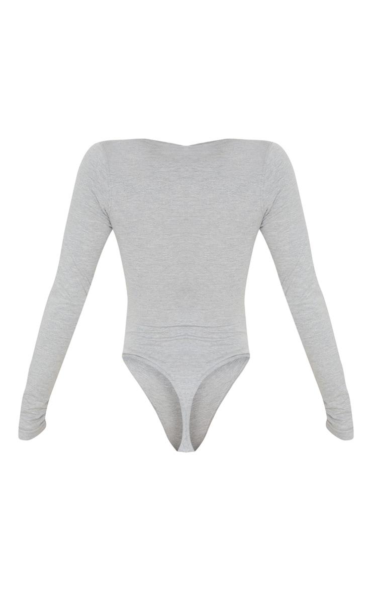 Body gris en coton à encolure ronde boutonnée 4