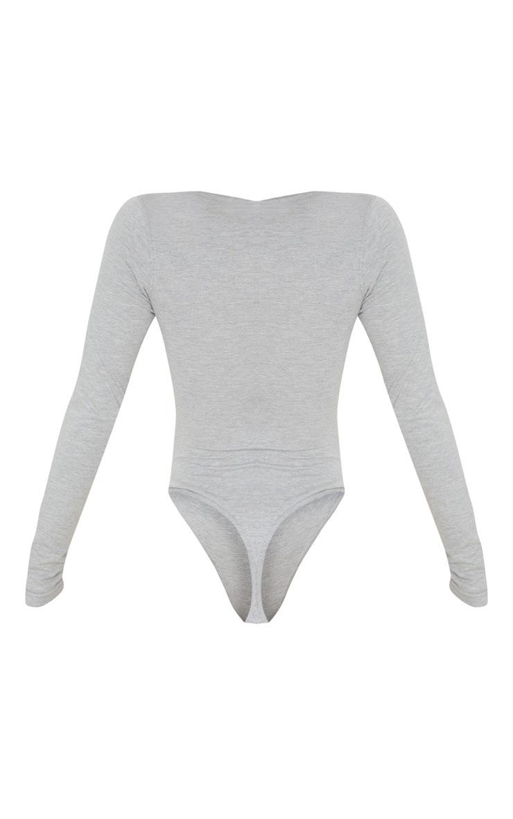 Grey Cotton Popper Scoop Neck Bodysuit 2