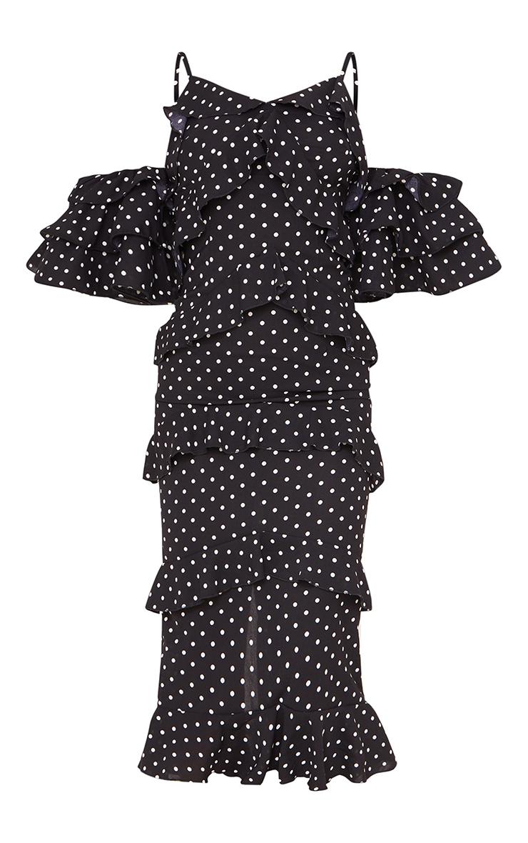 Black Polka Dot Tiered Frill Strappy Bardot Midi Dress 5