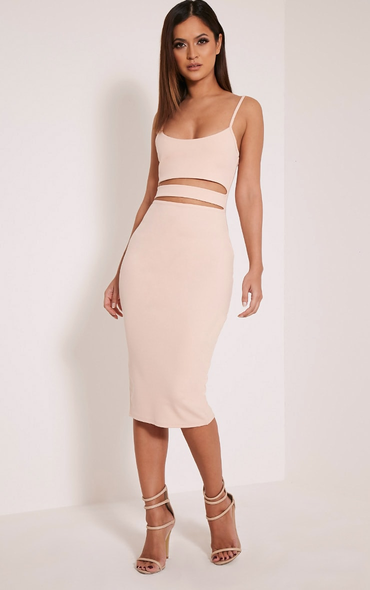 Kheelie Nude Cut Out Midi Dress 1