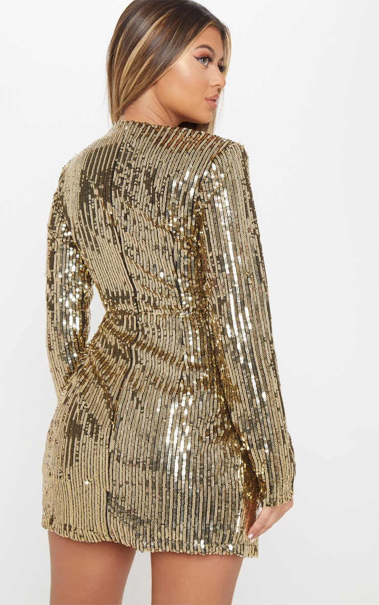 Gold Sequin Plunge Wrap Bodycon Dress 2