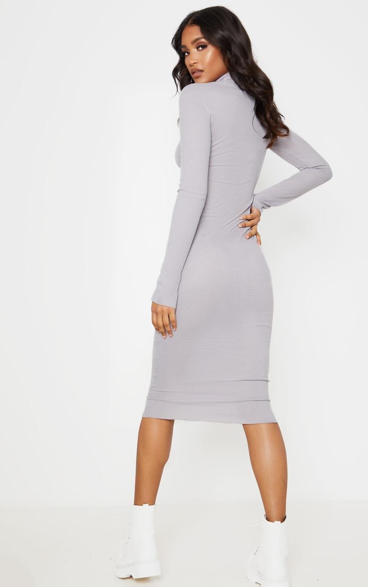 Charcoal Grey High Neck Thumb Hole Midi Dress 2