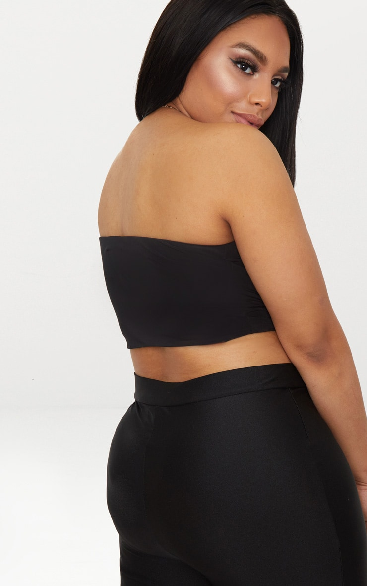 Plus Second Skin Black Slinky Bandeau Crop Top 2
