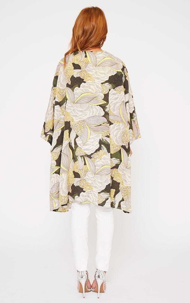 Mallory Green Leaf Tropical Print Kimono  2
