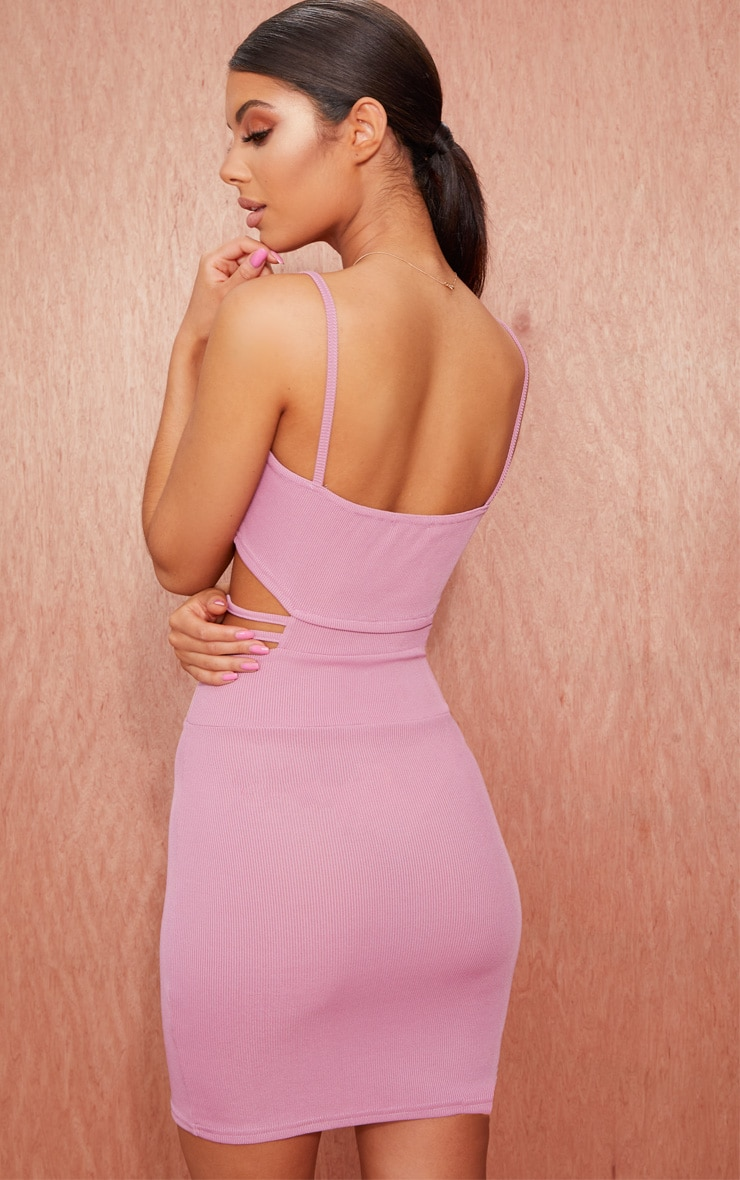 Mauve Ribbed Strappy Cut Out Detail Bodycon Dress 2