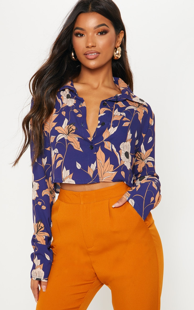 Navy Floral Print Long Sleeve Crop Shirt 1