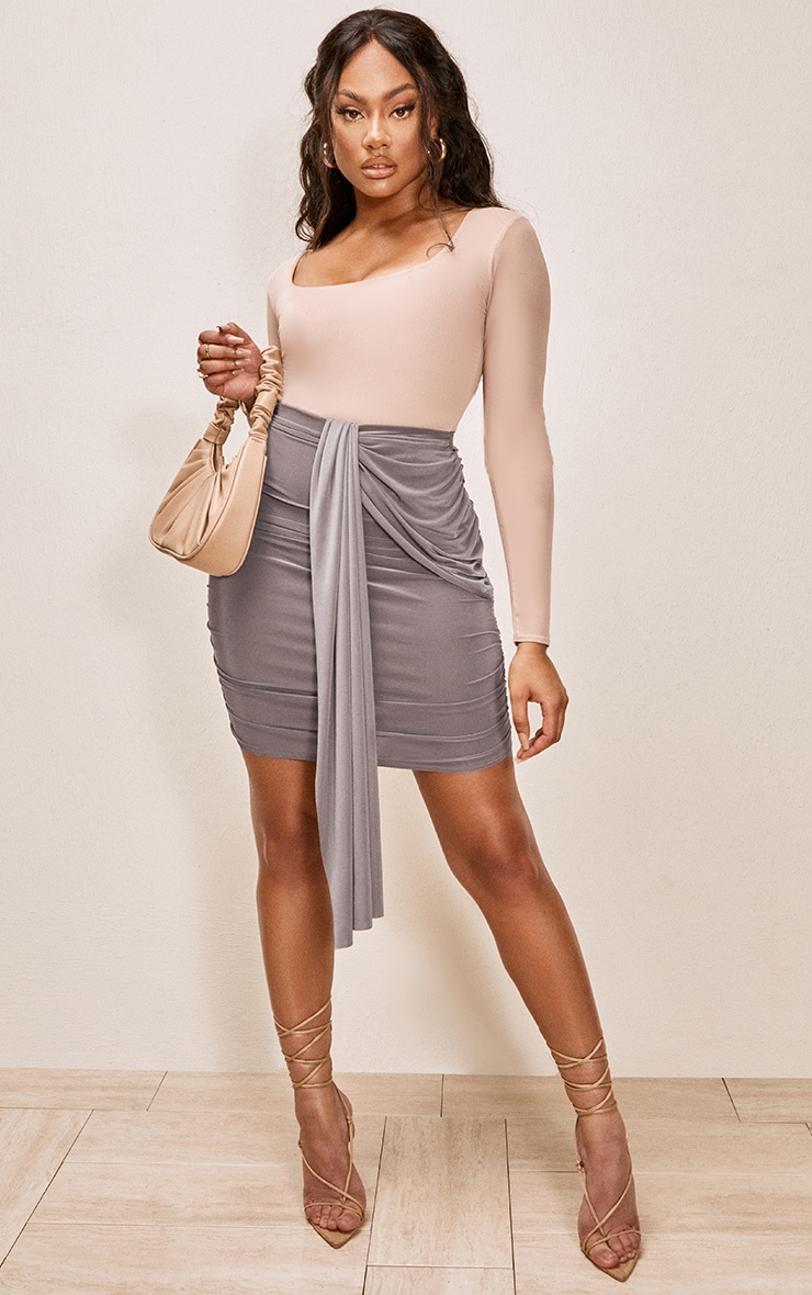 Taupe Slinky Foldover Ruched Mini Skirt