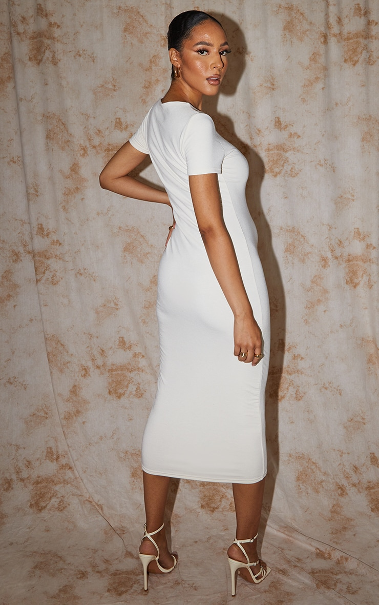 Recycled Maternity Cream Contour Jersey Short Sleeve Midi Dress 2