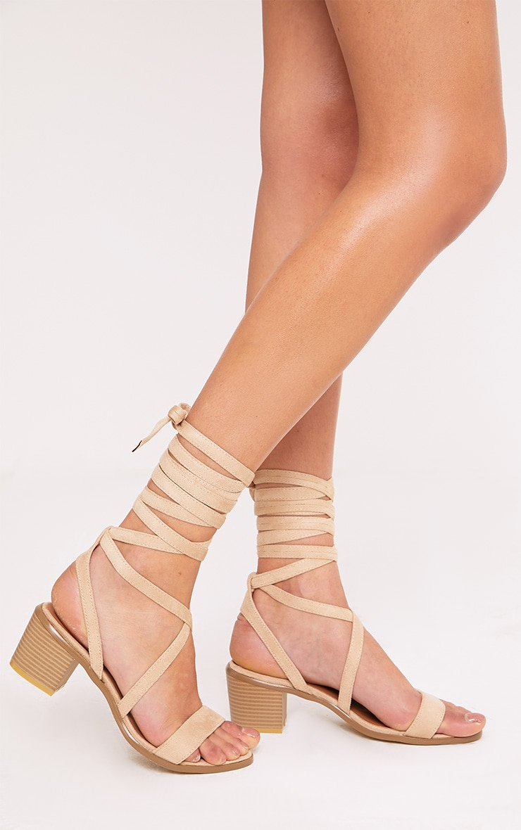 Kallia Cream Faux Suede Lace Up Heeled Sandals