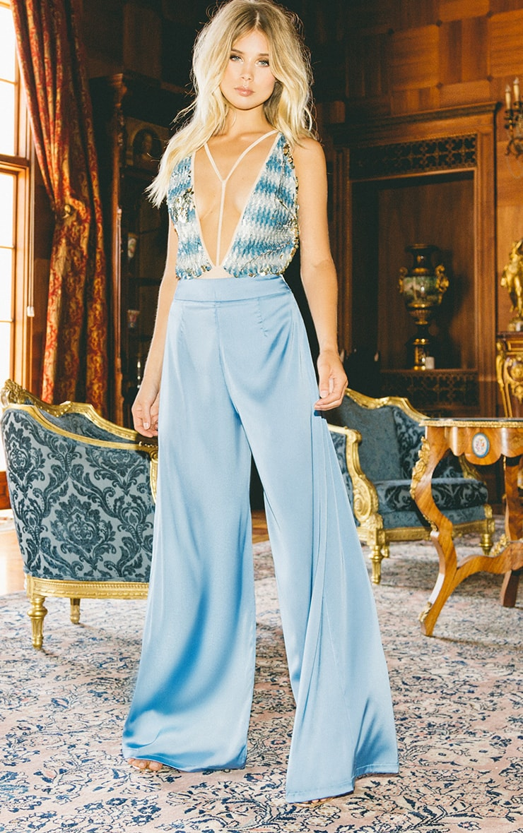 Dasia Blue Satin Pleated Wide Leg Trousers - Trousers