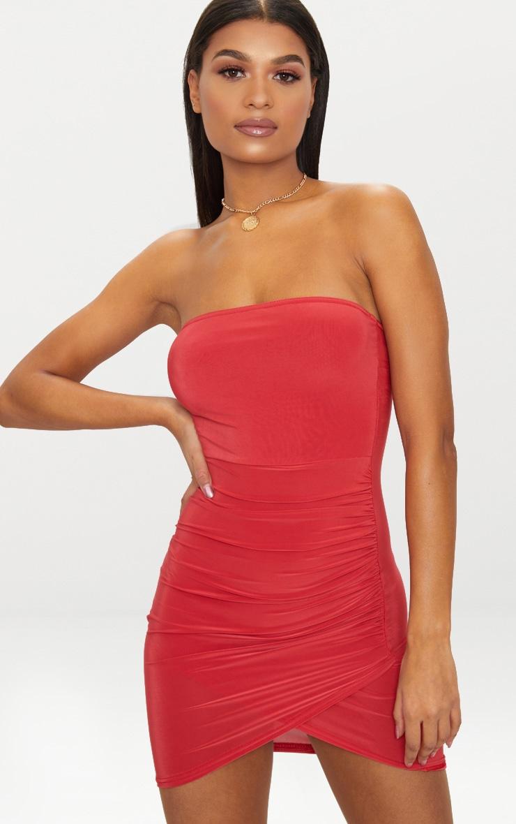 Red Bandeau Wrap Bodycon Dress Dresses