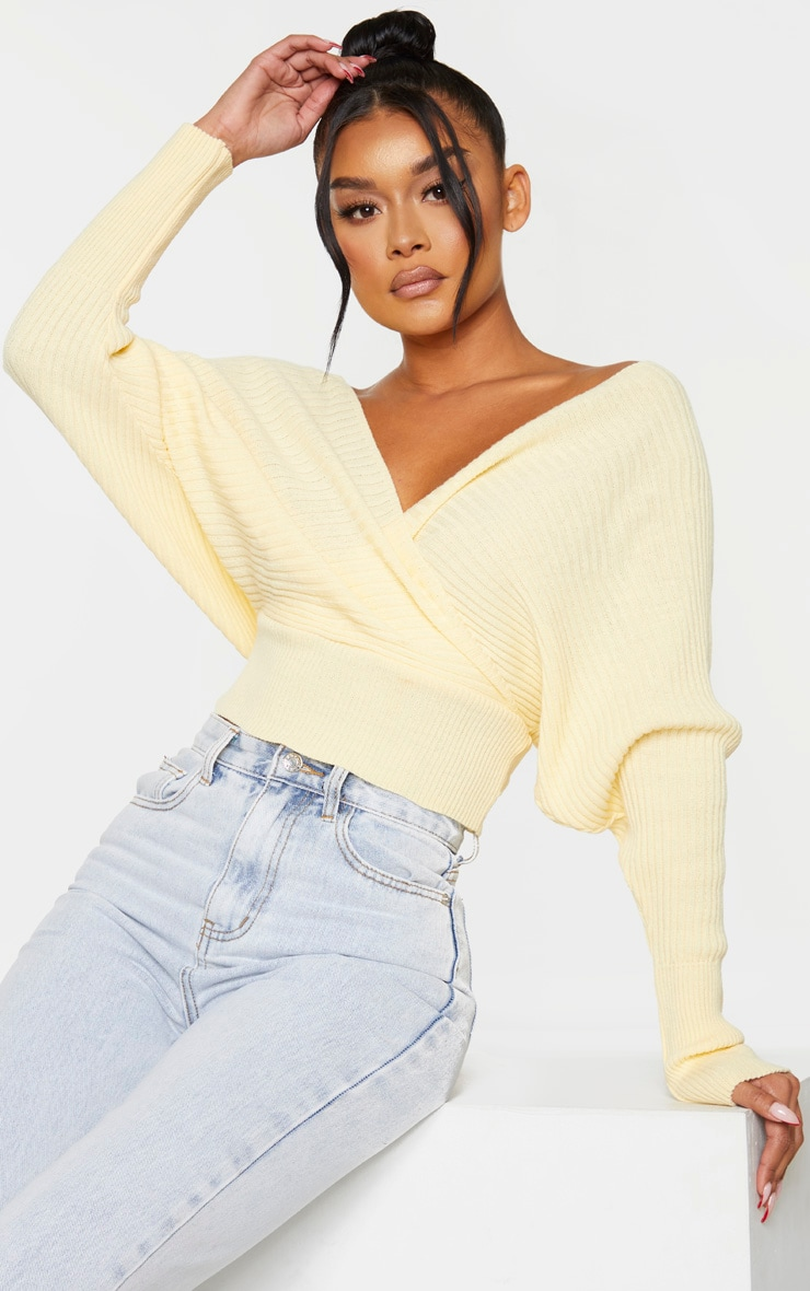 Yellow Off The Shoulder Wrap Jumper 1