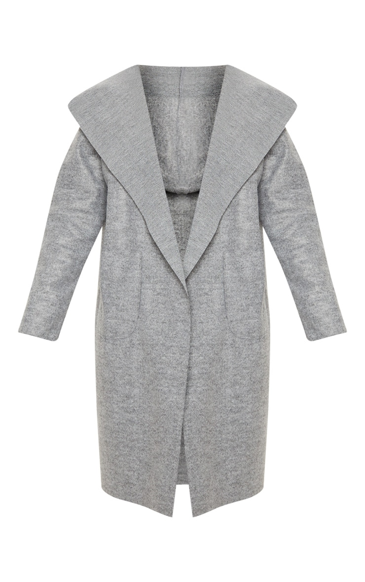 Grey Hooded Pocket Oversized Blazer  3