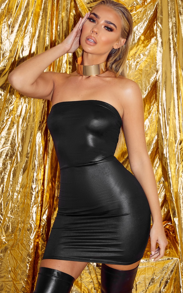 Black Wet Look Bandeau Bodycon Dress 1