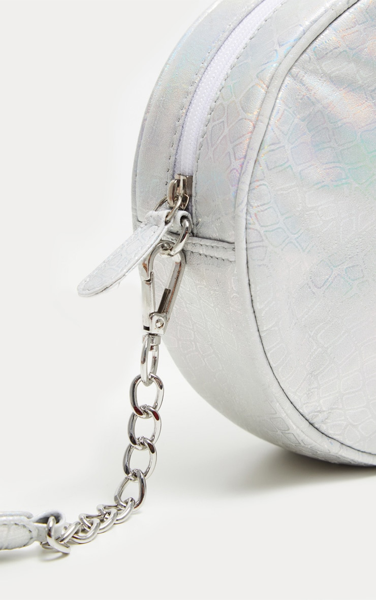 Silver Real Leather Iridescent Round Cross Body Bag 3