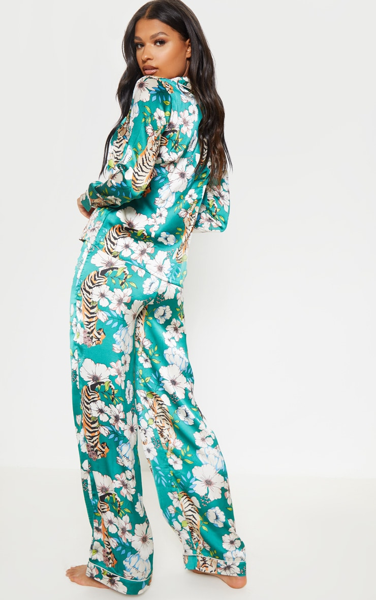 Emerald Tiger Blossom Wide Leg Satin PJ Set 2