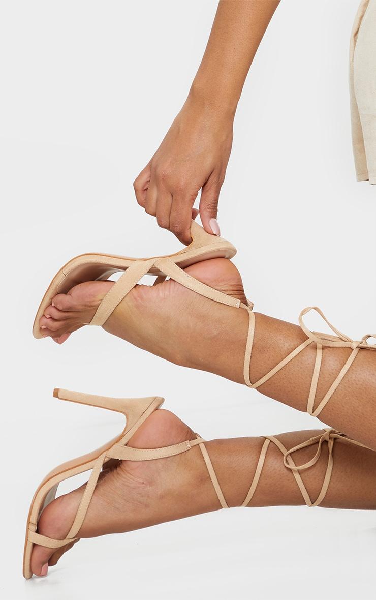 Nude Cross Toe Loop Ankle Strappy High Heels 2
