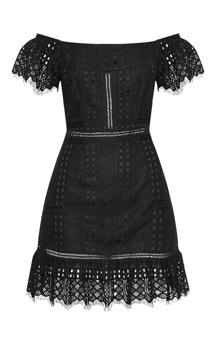 Black Bardot Lace Frill Hem Shift Dress 3